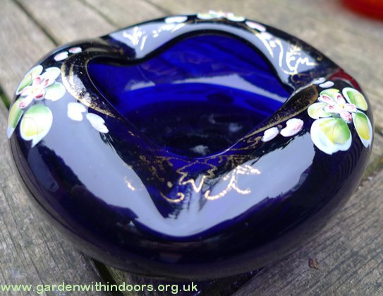 cobalt blue bohemian glass ashtray