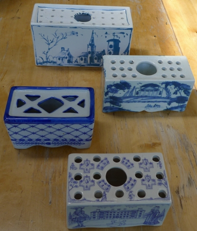 blue and white delft style flower bricks