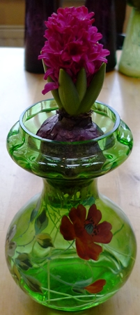 Jan Bos hyacinth in Victorian painted hyacinth vase