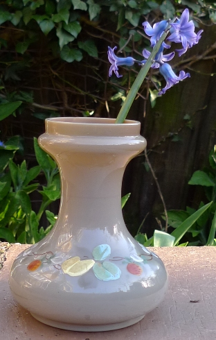 painted milk glass hyacinth vase